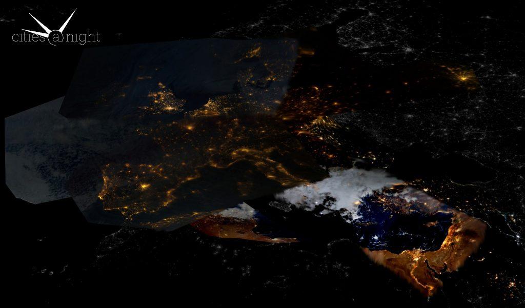 Europa por la noche desde el espacio
