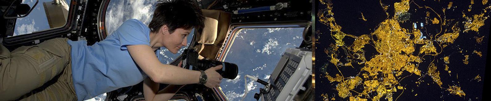 Astronauta fotografiando la tierra