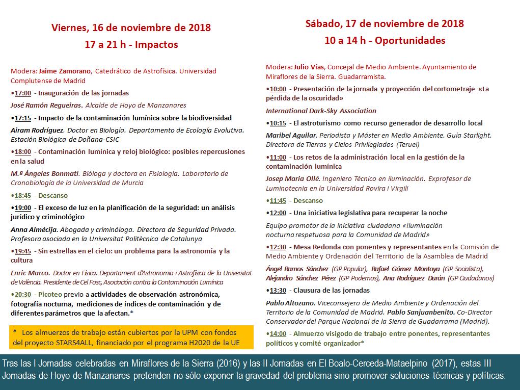 III Jornadas sobre contaminación lumínica en el Parque Nacional de la Sierra de Guadarrama